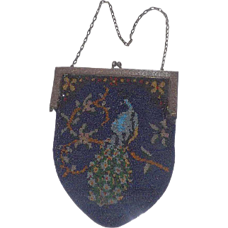 Gorgeous Micro Glass Beads Peacock Design Purse With Mirror