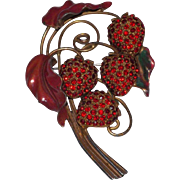 Lovely Rhinestones and Enamel Strawberries Brooch - Heavy Gold Tone Metal