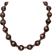 Stunning Black Wedding Cake Beads Necklace Pink Roses, Copper Beads & Blue Forget Me Nots