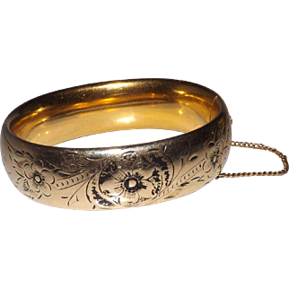 Gold Filled Ballou Etched - Taille De Epergne Bangle Bracelet
