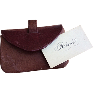 Burgundy leather clutch for larger French Fashion