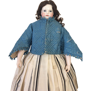Rare short padded silk coat for Huret or French Fashion doll