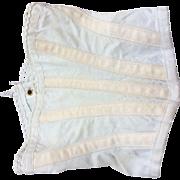 Old white cotton corset for fashion doll