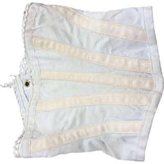 Old white cotton corset for fashion doll