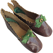 Lovely brown leather shoes for large fashion doll