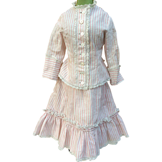 "Striped red and white period walking costume for 17-18"" French Fashion"