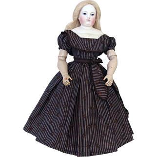 "Charming silk dress for Huret or any other poupee enfantine 17/18"""