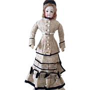 "Adorable 13"" Jumeau French Fashion doll with original outfit"