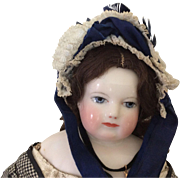 Stunning blue silk bonnet for Huret or Early French Fashion