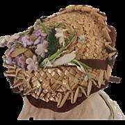 Charming straw summer hat for Huret or other enfantine doll