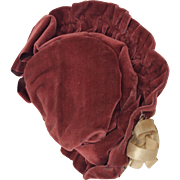 Charming burgundy velvet bebe or larger fashion hat
