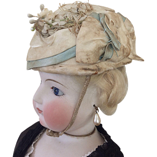 """Lovely cream and aqua toque hat for 22"""" French Fashion"""