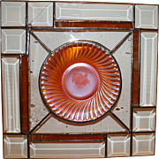 Vintage Beveled Panel Stained Glass Suncatcher With Depression Era Saucer Centerpiece