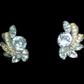 Weiss Rhinestone Clip On Earrings
