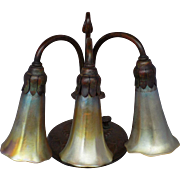Art Nouveau Tiffany Studios Three-Light Lily Bronze Lamp