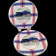 Vintage Matched Pair of Ramuntcho Faienceries de Sarreguemines Plates