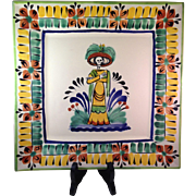 GoGo Gorky Gonzalez Mexican Pottery Square Skeleton Plate - Red Tag Sale Item