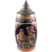 Vintage King Western Germany lidded Beer Stein