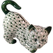 Vintage Andrea by Sadek Green & White Fishnet Cat Bank - Red Tag Sale Item