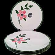 "Vintage Blue Ridge Southern Potteries ""Peggy"" Dinner Plates Set of 4"