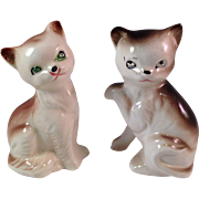 Vintage Japanese Miniature Porcelain Cat Pair