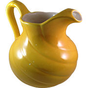 Vintage Red Wing Pottery Large Yellow Swirl Pitcher