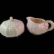 Vintage Belleek Tridacna Pattern Sugar and Creamer