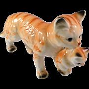 Vintage Bone China Orange Tabby with Kitten Figurine Taiwan