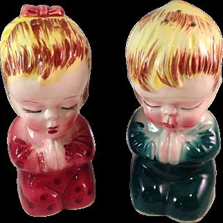 Vintage Made in Japan Porcelain Praying Children Salt and Pepper