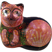 Tonala Mexican Red Clay Pottery Hand Painted Cat