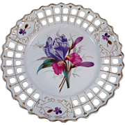 Vintage Reticulated Porcelain German Hand Painted Plate