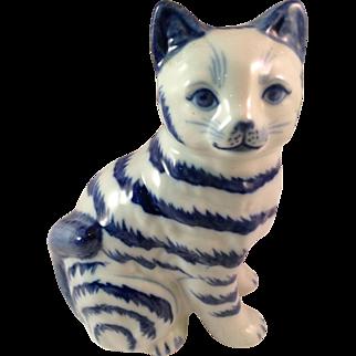 Vintage Porcelain Blue and White Sitting Cat
