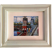 Original Oil on Canvas on Board Signed Parisian Scene - Red Tag Sale Item