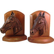 Vintage SyrocoWood Horse Head Bookends