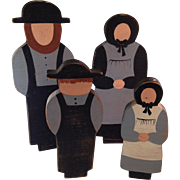 Vintage Amish Family Folk Art Wooden Figures