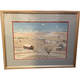 Vintage Lucy Doane Original Gouache Vermont Countryside Painting
