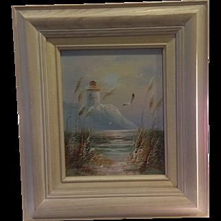 Original Bernard Duggan Oil on Board Lighthouse Seascape