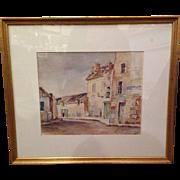 Antique Carol M. Albright Original Watercolor, Meaux, France
