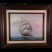 Original John Ambrose Tall Ship Oil on Board English Artist - Red Tag Sale Item