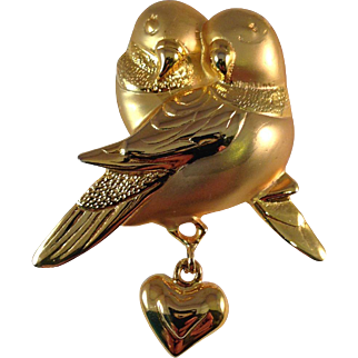 Vintage Gold Plated Lovebirds Pin