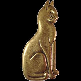 Vintage Burnished Brass Cat Pin