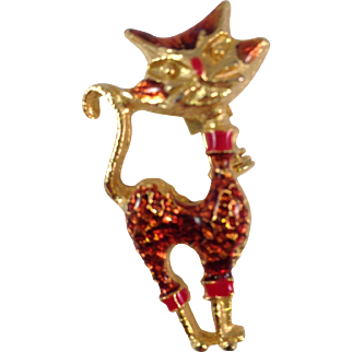Vintage Gold Plated with Epoxy Cat Pin