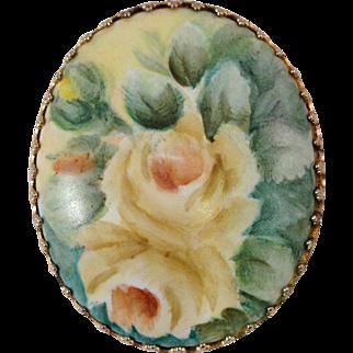 Vintage Painted Porcelain Floral Brooch