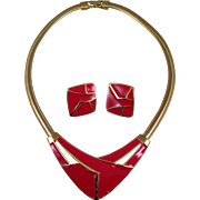 Vintage 1980's Trifari Epoxy Necklace and Clip Earrings