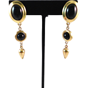 Trifari 1980's Vintage Gold Plated and Black Pierced Earrings