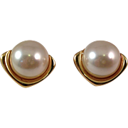 Vintage Trifari 1980's Gold Plated with Simulated Pearl Pierced Earrings