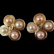 Vintage Trifari Simulated Pearl Clip Earrings