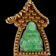 Vintage Hattie Carnegie Jadeite Color Glass Buddha Shrine Pin