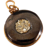 Antique Jet Cannel Coal Nugget Round Pocket Watch Fob Charm