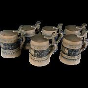 Set of 6 Antique German Salt Glaze Pewter Lidded Beer Steins